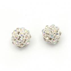 Мънисто шамбала метал с кристали топче 14.5 мм дупка 1 мм дъга бяло