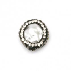 Мънисто полимер с кристали двулицево имитация перла 16x14.5x5.5 мм  дупка 1мм