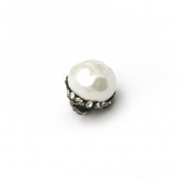 Висулка имитация перла шапка полимер с кристали 12x10 мм дупка 1.5 мм
