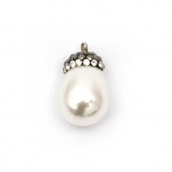 Висулка имитация перла шапка полимер с кристали 22x13 мм дупка 2 мм