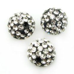 Мънисто шамбала полимер с кристали 12 мм дупка 2 мм черно с бели кристали
