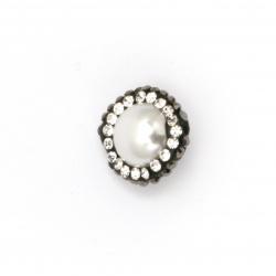 Мънисто имитация перла и полимер с кристали  15x10 мм дупка 2 мм