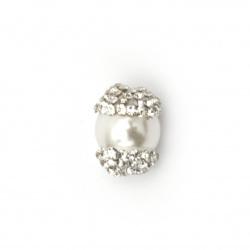 Мънисто имитация перла шапка полимер с кристали 13.5x10 мм дупка 2 мм