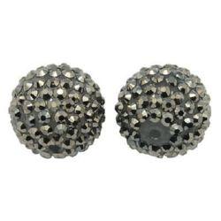 Мънисто шамбала пластмаса резин 16 мм дупка 2.5 мм сребро -4 броя