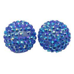 Мънисто шамбала пластмаса резин ДЪГА 16 мм дупка 2.5 мм синьо -4 броя