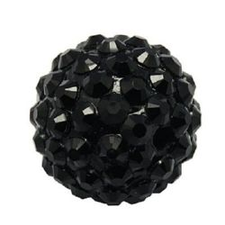 Мънисто шамбала пластмаса резин 16 мм дупка 2.5 мм черно -4 броя