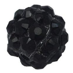 Stylish Shambhala bead, plastic resin ball shaped 18 mm hole 2 mm black - 4 pieces