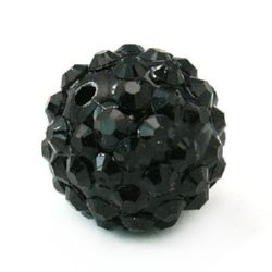 Мънисто шамбала пластмаса резин 14 мм дупка 2.5 мм черно -4 броя