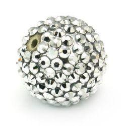 Мънисто шамбала пластмаса резин 14 мм дупка 2.5 мм сребро -4 броя