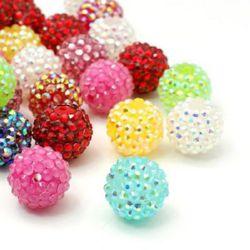 Mărgelă colorată din rășină din plastic Shambhala gaură de 14 mm gaură 2,5 mm diferite culori - 4 bucăți