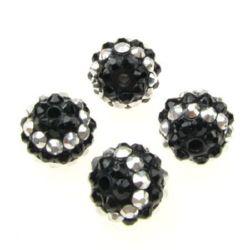 Мънисто шамбала пластмаса резин 14 мм дупка 2.5 мм сребро и черно -4 броя