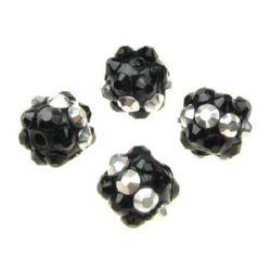 Мънисто шамбала пластмаса резин 10 мм дупка 2 мм сребро и черно -4 броя