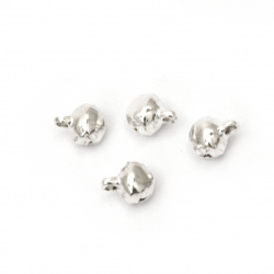 Metal Jingle bell for jewelry making and DIY decorations 6x6x8 mm hole 1.5 mm first quality color white - 50 pieces