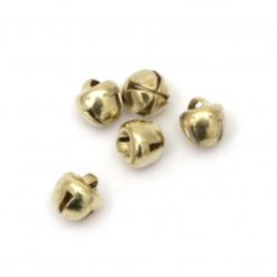 Звънче метал 6x6x7 мм дупка 1 мм първо качество цвят злато - 50 броя