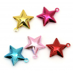 Metal star Bell for DIY decorations 30x33x10 mm hole 3 mm color mix -  5 pieces