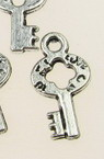 Jewelry components,  metal key charm bead 17x9x1.5 mm hole 1.5 mm color silver - 20 pieces