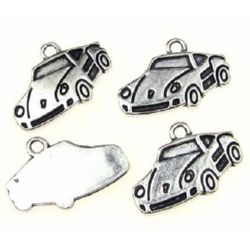 Metal car shaped pendant for accessories craft making, gift decorations 14x19x1.5 mm hole 1.5 mm color old silver - 10 pieces
