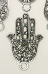 Jewelry metal components, openwork pendant  hand of Fatima 41x27x1.5 mm hole 3.5 mm color silver - 4 pieces