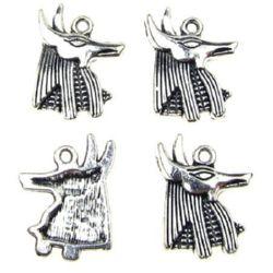 Pandantiv metalic ANUBIS 20x15x2 mm orificiu 1,5 mm culoare argintiu -10 bucăți