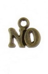 "Metal jewelry findings,  pendant with lettering ""NO"" 9x10x1.5 mm hole 1.5 mm color antique bronze - 10 pieces"