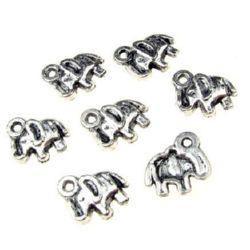 Pandantiv elefant metalic 13x11x2 mm gaură 1 mm culoare argint vechi -20 bucăți
