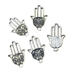 Metal ewelry findings, openwork pendant hand of Fatima 22x15x1.5 mm hole 2 mm color old silver - 10 pieces