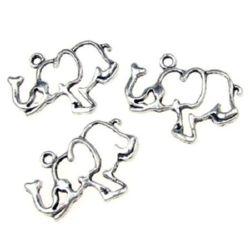 Pandantiv metal elefant 26x31x2 mm orificiu 2,5 mm culoare argintiu -5 bucăți