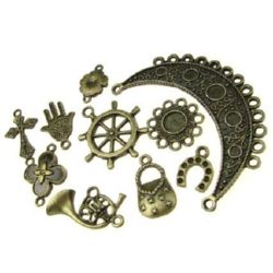 Assorted forms and sizes metal pendants 13~39x11~31x1.5~14 mm hole 1 ~ 4 mm color antique bronze - 20 grams