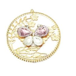 Metal pendant round with butterfly and small crystasl 63.5x60x7 mm hole 1 mm gold color