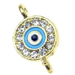 Circle metal jewelry component - connector  with rhinestones and glaze lucky eye  21x13x3 mm hole 1.5 mm gold color