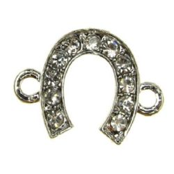 Metal connecting element in the shape of horseshoe with small rhinestones 18x14x2 mm hole 2 mm color silver - 2 pieces