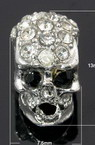 Metal bead in skull shape with small crystals 13x7.5x9 mm silver