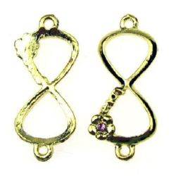 Jewelry metal component - infinity sign connecting element with crystal  15x35x4 mm hole 2 mm color gold - 2 pieces