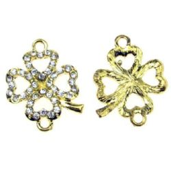 Metal jewelry finding, clover connecting element with clear crystals 21x16 mm hole 2.5 mm gold color