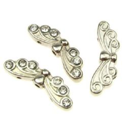 Metal bead with crystals in butterfly shape for jewelry making 7x22x4 mm hole 1.4 mm color silver - 5 pieces