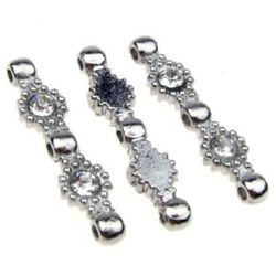 Metal beads, jewelry findings with crystals 7x31x4 mm hole 2 mm color silver - 5 pieces