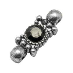 Оblong мetal beads spacer with crystal 8x21x5 mm hole 1 mm color stainless steel - 5 pieces