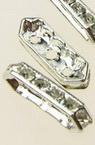 Divizor metalic cu cristale 16x5x3 mm cu trei găuri 1 mm culoare alb -4 bucăți