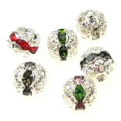 Metal ball bead with various of colors crystals 8 mm hole 1 mm color white