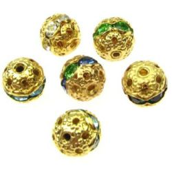 Shimmering metal ball, charm bead with assorted color crystals 8 mm hole 1 mm color gold