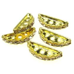 Semicircular metal divider, bead with crystals for jewelry making 19x7x3 mm hole 1.5 mm color gold - 5 pieces
