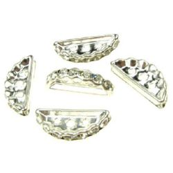 Semicircle separator bead, metal element with crystals 19x7x3 mm hole 1.5 mm color white - 5 pieces
