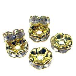 Шайба метал с кристали 7x3.2 мм дупка 1.5 мм (качество А) цвят злато -10 броя