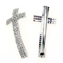 Metal curved cross bead with crystals  53x24 mm hole 3.5 mm color white