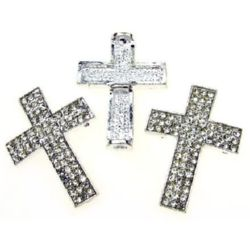Metal cross bead with clear crystals 37x27.5 mm white