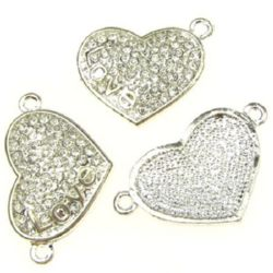 """Shiny metal bead - connecting element in the shape of a heart with crystals and label """"Love"""" 31.5x19 mm hole 2 mm color white"""