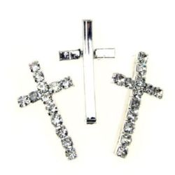 Metal cross bead with crystals 31x19 mm color white - 2 pieces