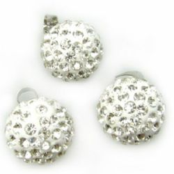 Shambhala ball pendant 14 mm white with small crystals