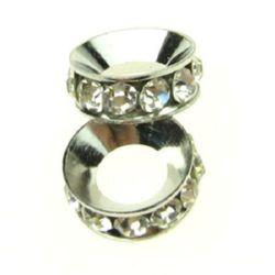 Мънисто шамбала метал с кристали шайба 13x5 мм дупка 6 мм сребро -2 броя