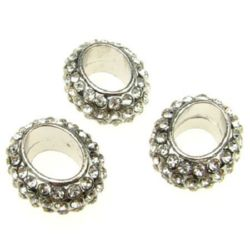 Мънисто шамбала метал с кристали овал 20x23.5x10.5 мм дупка 1.5 мм сребро